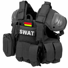MFH Tactical Vest Combat SWAT Airsoft Assault Size Adjustable Black