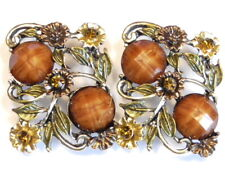2 - 2 HOLE SLIDER BEADS ORNATE PAINTED FLOWERS BROWN MARBLED CABS & SMOKY TOPAZ