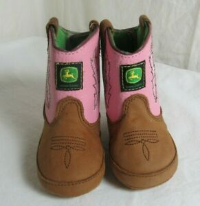 John Deere Pink Leather Flame Stitched Cowboy Boots Girls Baby Size 3