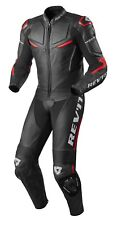 TUTA INTERA LEATHER SUIT MOTO REV'IT REVIT MASARU PELLE NERO ROSSO RED TG 48