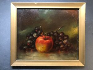 Antique painting Still Life Apple Grapes Fruit early 1900's