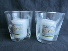 Decorative Feather Engraved Glass Holders  +Yankee Candle 'Wedding Day' Votives