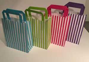 Bright STRIPE Paper Party Bags - Gift Bag With FLAT Handles - Birthday Loot Bag*