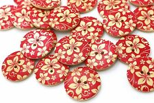 Red Sakura Flower Wooden Button Japanese Floral Large Two Holes Big 30mm 3pcs