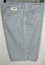 Abercrombie & Fitch Mens Size 30 X 9.5' Flat Front Shorts Blue White Striped.