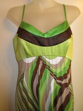 Sue Wong 6 Dress Maxi Double Slit Bright Green Brown Pattern Spring Summer Party