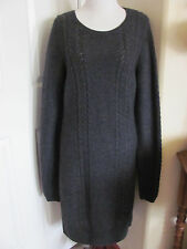 Mexx Womens Sweater Dress Long Sleeve Size Large Gray Cable Knit