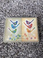 Vintage Stardust Plastic Coated Playing Cards Three Birds Two Decks Display Case