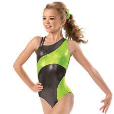 NEW Gabby Metallic Foil Asymmetrical Dance Gymnastics Leotard Child Sizes