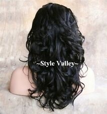 JET Black 3/4 Wig Fall Hairpiece LONG  Wavy Layered Half Wig Hair Piece NEW #1