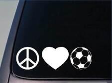 "Peace love Soccer sticker *H84* 8"" vinyl goalie knee pads"