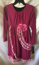Isobella And Chloe Girls Raspberry Empire Ruffle Front Dress Size 14-New