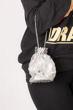 60s vintage silver lurex sequin beaded evening bag expanding gate beggars purse