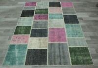 Turkish Patchwork Unique Carpet Anatolian Hand Knotted Bohemian Area Rug 5x8 ft.