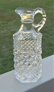 Vintage Anchor Hocking Pressed Glass Oil Vinegar Salad Dressing Bottle *Wexford