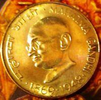 India-republic 20 Paise 1969 H Centennial - Birth of Mahatma Gandhi a unc /b unc