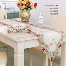 CURCYA Milky White Silk Satin Lace Table Cloth Cover for Wedding Banquet Parties