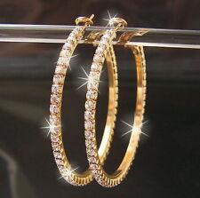 Women's Rhinestone Crystal Gold Hoop Round Big Earrings Ear Stud Fashion Jewelry