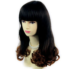 Wiwigs Lovely Long Black Brown & Red Bouncy Curly Dip-Dye Ombre Ladies Wig