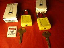 2 New Master Lock Yellow Safety Lockout Padlock W Box Nib