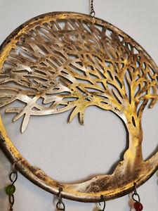 Tree of Life metal bells garden wind chime door hanger home decor pagan ethnic