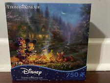 Thomas Kinkade Mickey and Minnie Sweetheart Campfire 750 Piece Ceaco Puzzle