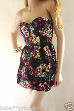 NWT bebe black floral cutout back strapless bustier flare top dress cutout XL 12