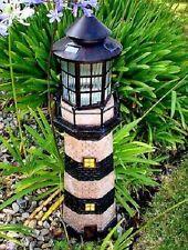 "35"" Decorative Garden Solar Light Powered Lighthouse (Green/Ivory)"