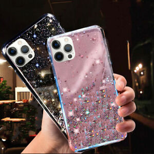 For iPhone 12 Pro Max 12 Mini 11 Pro XS XR 8 7 Glitter Silicone Clear Case Cover