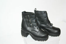 Platform Ankle Boots, Real Leather, Black, size 37