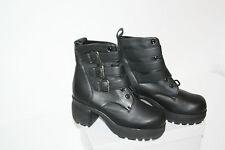 Plataforma botines, cuero genuino, negro, tamaño 39