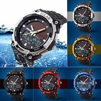 Men's Solar Power Dual Time Digital Analog Waterproof Rubber Sport Wrist Watch