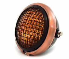 "5.75"" Halogen Motorcycle Headlight w/ Grill - Black Bronze Gloss Black Amber"