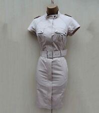 KAREN MILLEN Beige Safari Military Trench Shirt Style Shift Dress  8 UK  EU 36