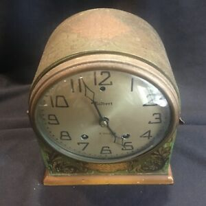 Antique Art Deco Gilbert 8 Day Desk Clock Green Paint Stencil Decoration