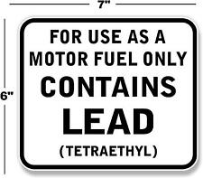 "7"" CONTAINS LEAD GAS PUMP DECAL STATION GASOLINE PUMP LUBSTER TEXACO MOBIL"