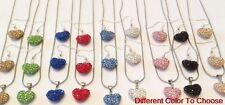 8Set/lot mixed clay micro pave crystal heart shamballa necklace pendant set