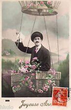 BK159 Carte Photo vintage card RPPC Homme fantaisie montgolfière dirigeable