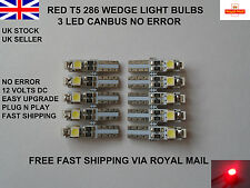 10 x 3 LED T5 286 SMD CANBUS ERROR FREE RED BULBS DASHBOARD CLOCK UK 12v 0.5W