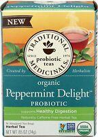 TEA ORGANIC PEPPERMINT DELIGHTS PROBIOTICS Tradition Medicinals(16 bags x 1 box)