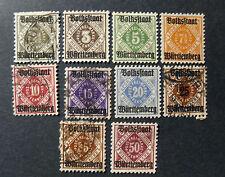 "GERMANIA ,GERMANY 1919 WURTTEMBERG ""Fr. SVR Cifra al centro "" 10 V Cpl set MH/US"