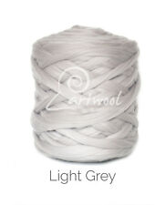 Light Grey -  1 kg 100% Merino Wool Giant Chunky Yarn Arm Knitting