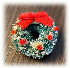 Vintage Antique Dollhouse Miniatures Christmas Wreath Red Bow Holly Berries 1:16