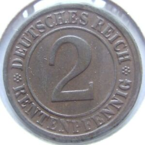 2 Rentenpfennig 1923 G in Vorzüglich !!!