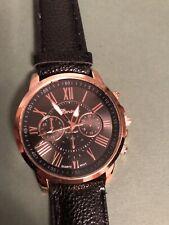 Analog Quartz Wrist Men's Watch 6 Hands Date Classic Strap Black Leather Gold