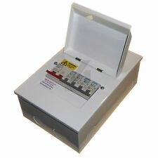 Metal 4 way consumer unit 100 amp isolator, choice of MCB house garage shed 100A