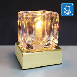 Dimmable Touch Table Light Glass Ice Cube Bedside Study Office Dimmer Lamp M0110