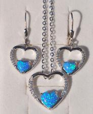 925 Sterling Silber Set Ohrringe Anhänger Zirkonia synth Opal blau Herz Nr 241