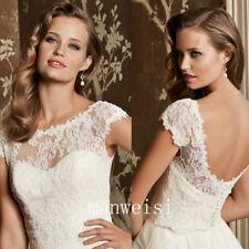 Elegant Wedding Bridal Jackets Short Sleeve Lace Top White Ivory Wraps Boleros