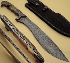 BEAUTIFUL CUSTOM HAND MADE DAMASCUS STEEL HUNTING KOPIS SWORD HANDLE RAM HORN